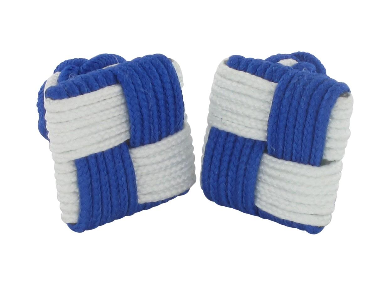 TEROON Manschettenknöpfe Seidenknoten weiß-blau