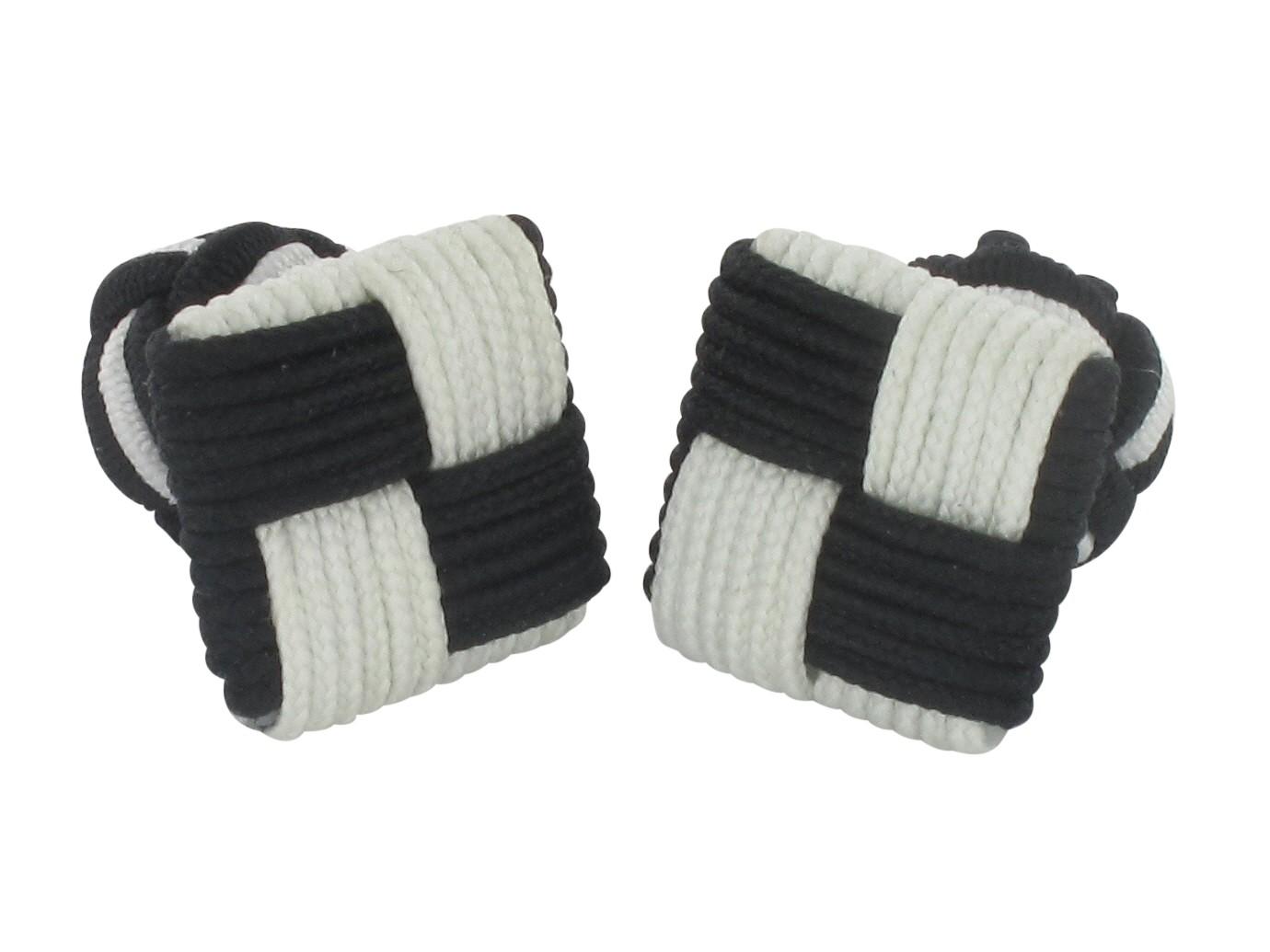 TEROON Manschettenknöpfe Seidenknoten schwarz-weiß