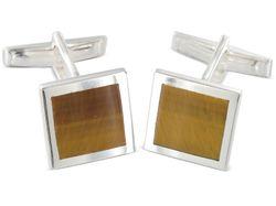 Moderne quadratische Manschettenknöpfe mit Tigerauge aus Silber