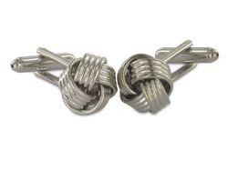 Moderne silberne Manschettenknöpfe in Knotenform