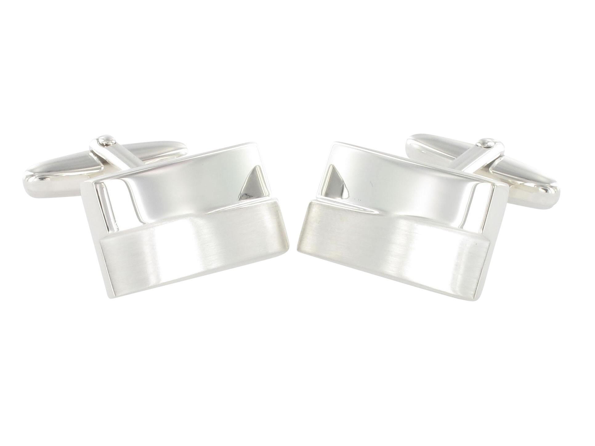 Grom gravurfähige Design Manschettenknöpfe aus Sterling Silber