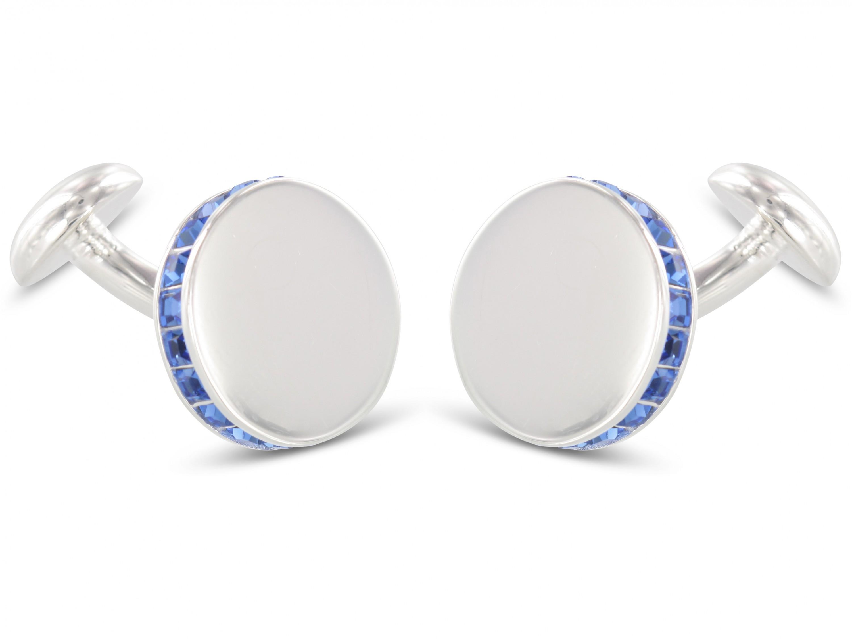 BROOKER Silber Manschettenknöpfe Swarovski Saphire blau
