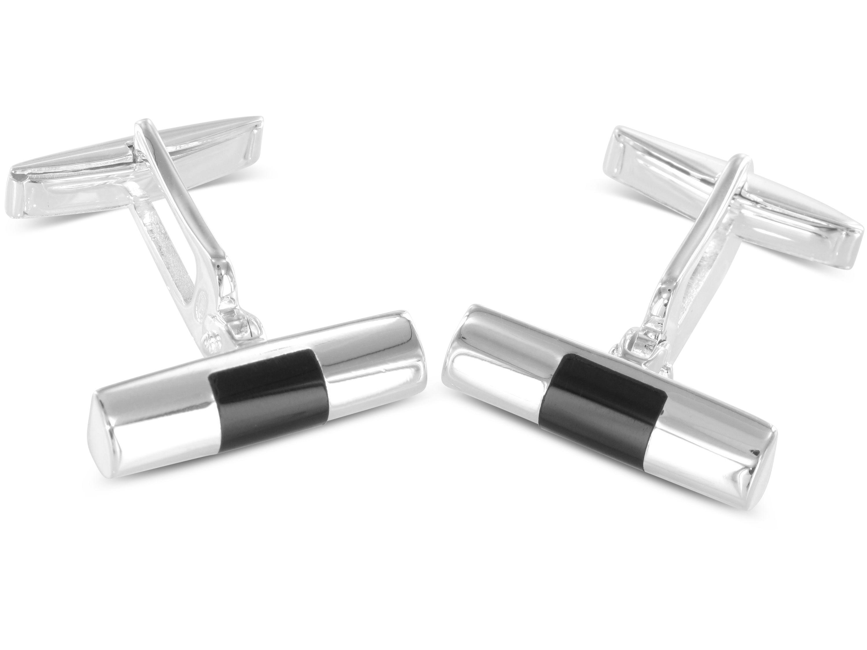 BROOKER Manschettenknöpfe Zylinderform Onyx Silber