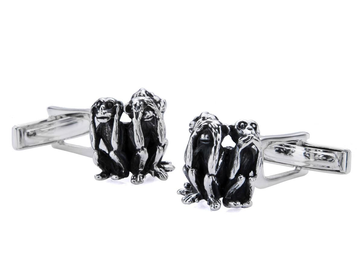 BROOKER Manschettenknöpfe drei Affen Silber