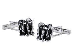 Ausgefallene Manschettenknöpfe mit den drei Affen aus echtem Silber