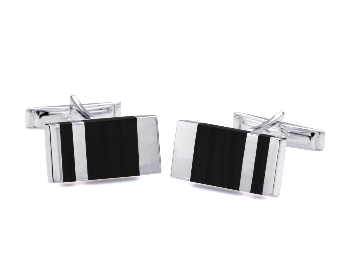 BROOKER Manschettenknöpfe aus Silber mit  Onyx-Applikation
