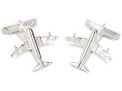 Manschettenknöpfe mit Flugzeug aus echtem Silber von BROOKER