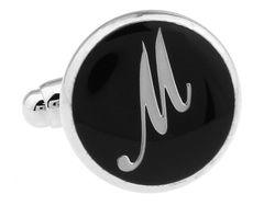 Buchstaben Manschettenknopf M Silber schwarz