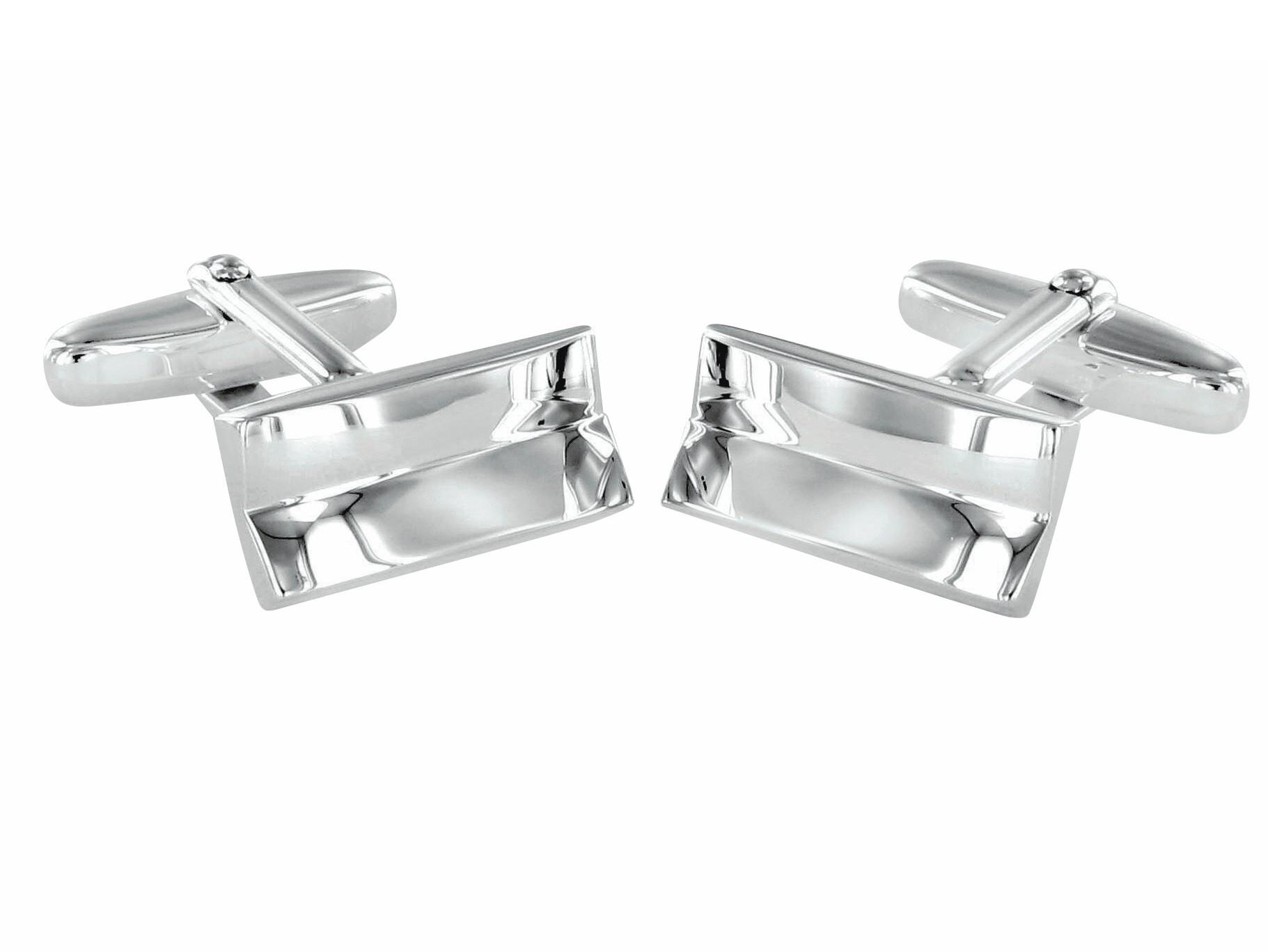 Grom Manschettenknöpfe Silber rechteckig konvex