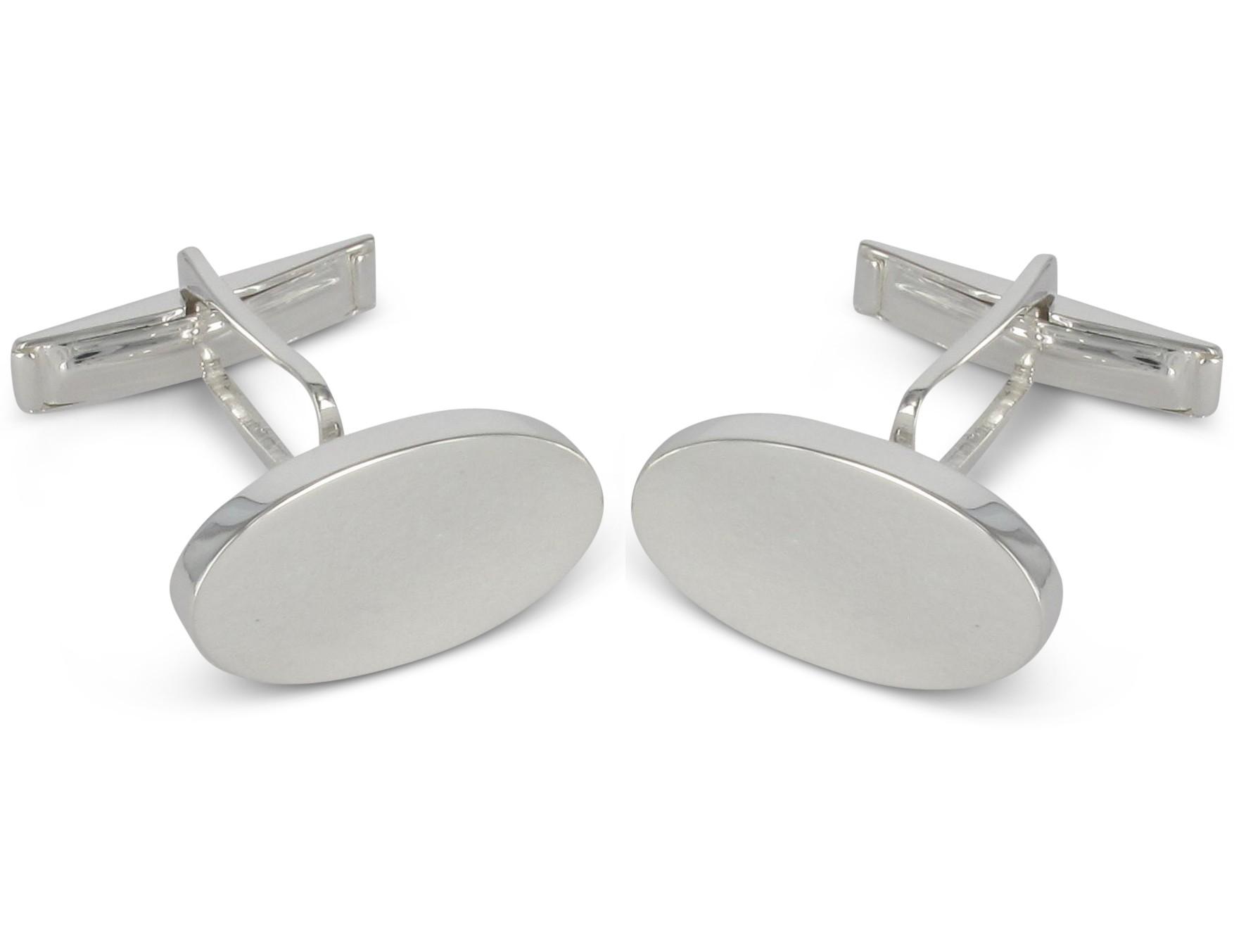 BROOKER Manschettenknöpfe poliert oval Silber gravierbar