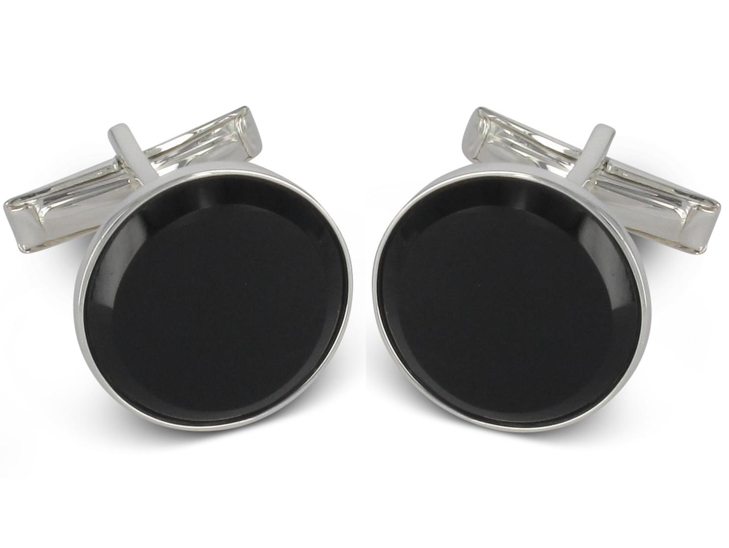 BROOKER Manschettenknöpfe mit Onyx-Stein, Silber