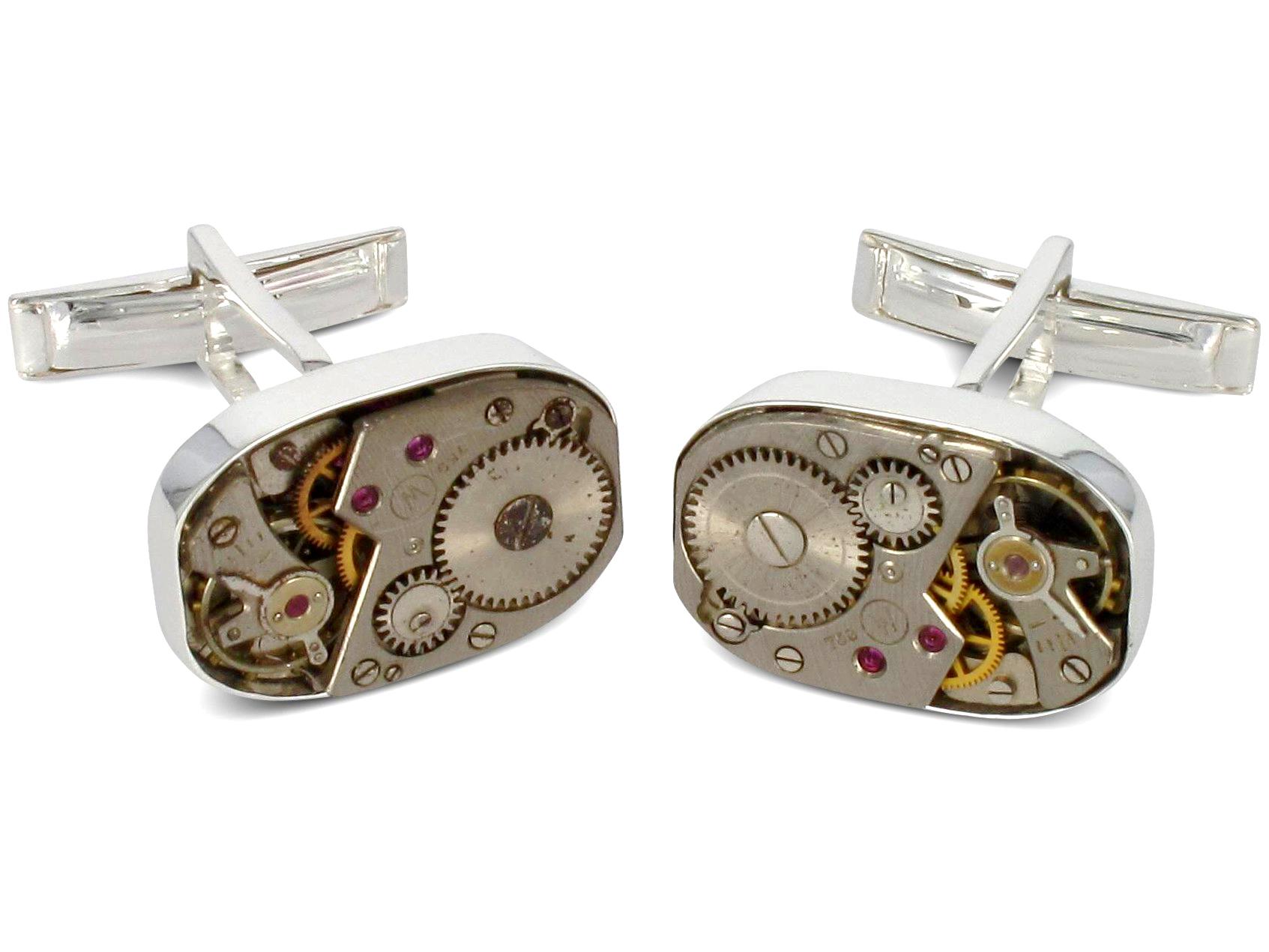 BROOKER Manschettenknöpfe Uhrwerk Silber