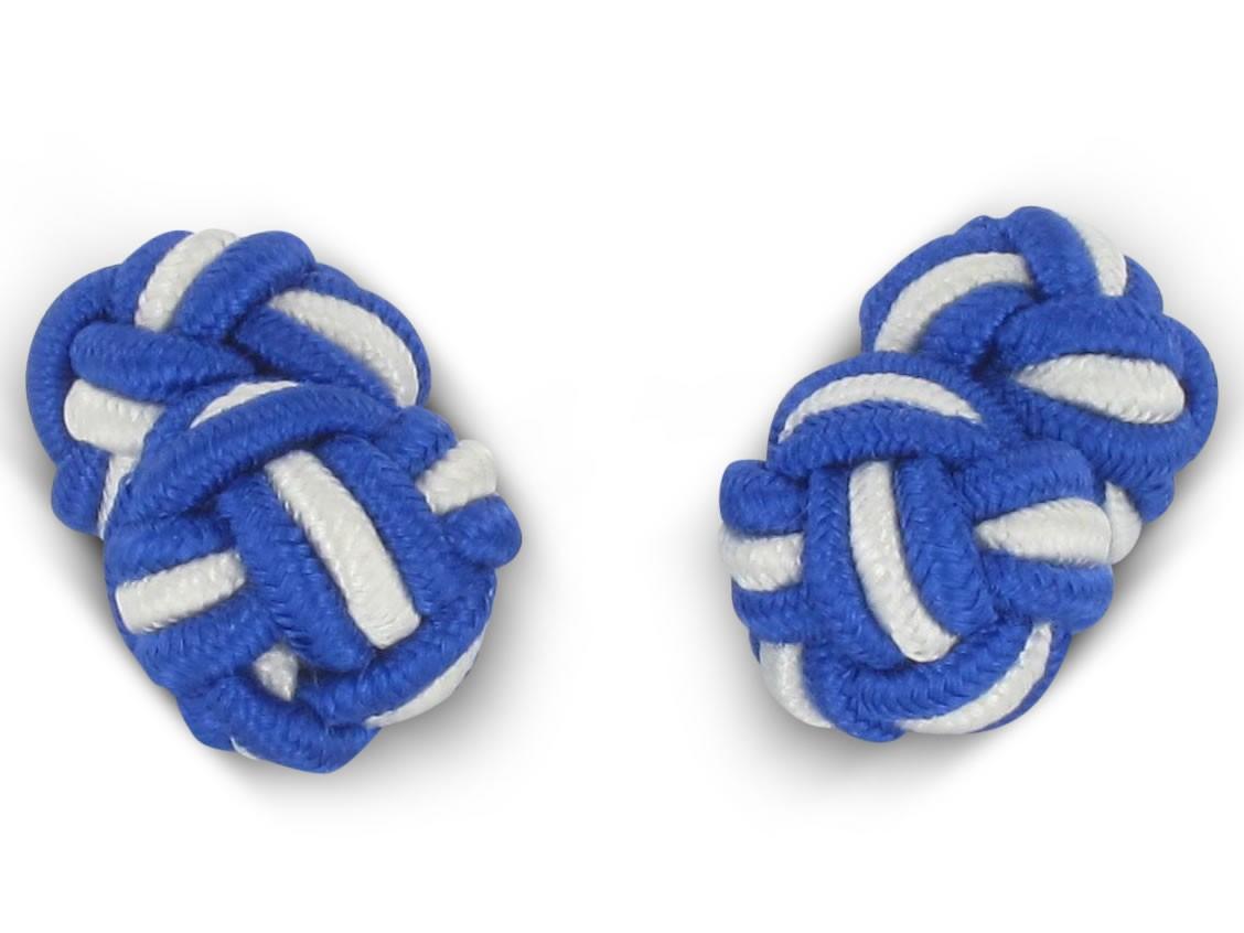 TEROON Manschettenknöpfe Seidenknoten Blau-weiss