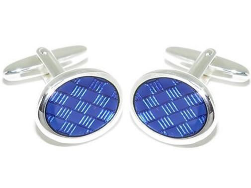 Grom Manschettenknöpfe Silber blaue Kaltemaileinlage