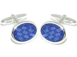 Manschettenknöpfe Kaltemaileinlage 925er Sterling Silber hellblau blau