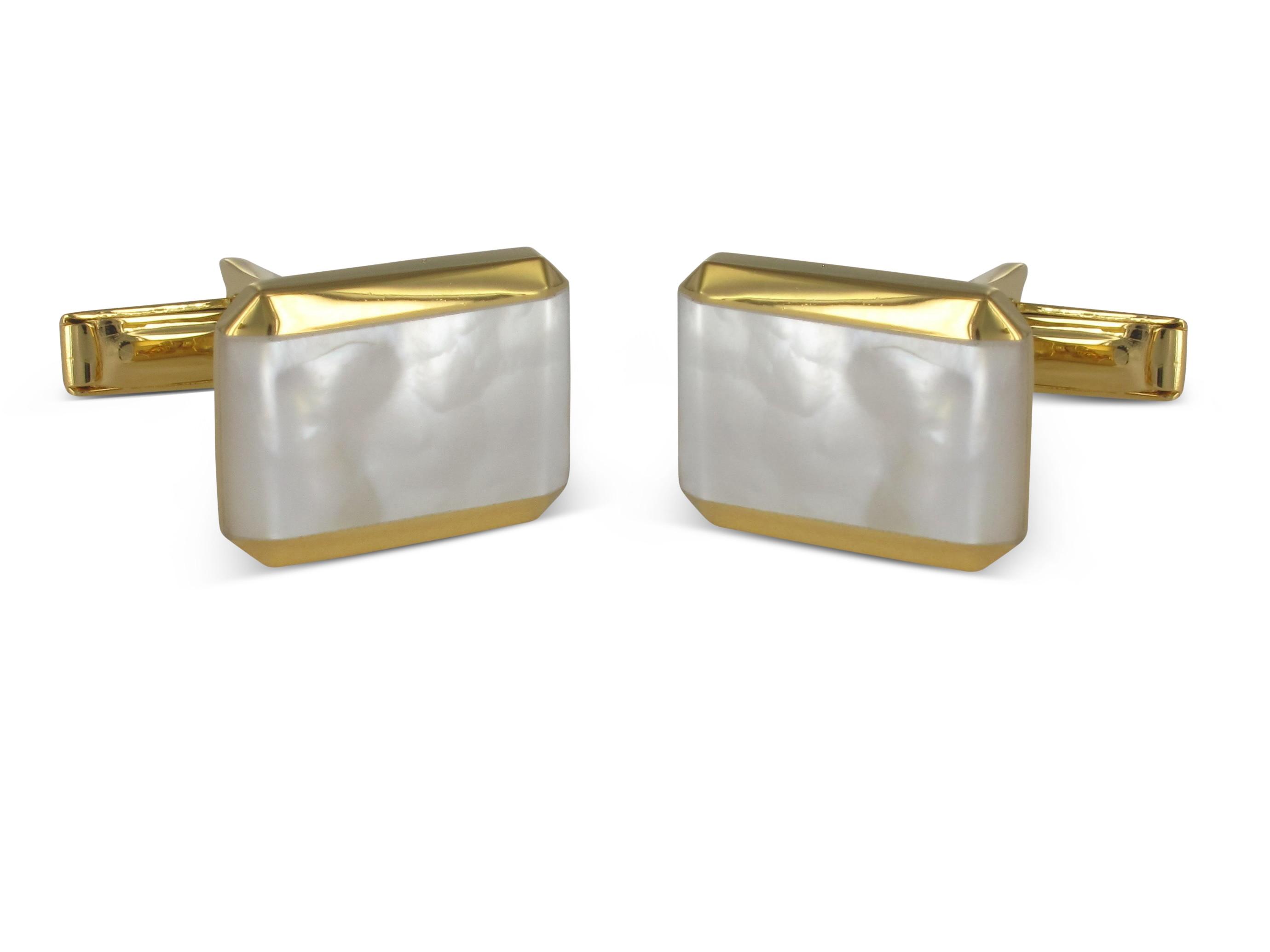 BROOKER Manschettenknöpfe Silber 18 Karat vergoldet Perlmutt-Einlage