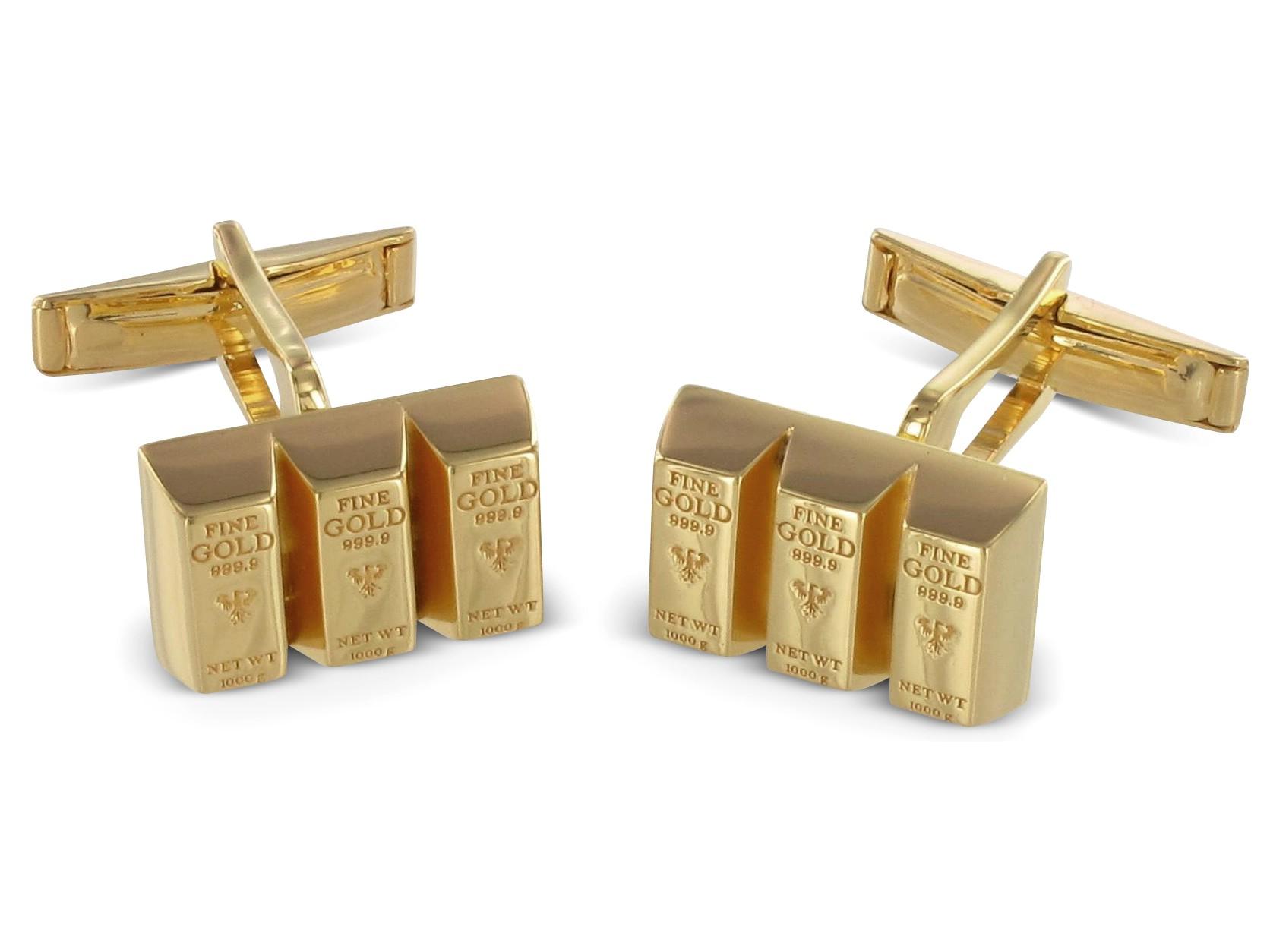 BROOKER Manschettenknöpfe Goldbarren Silber