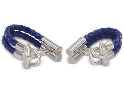 Manschettenknöpfe Leder Blau