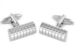 Edle silberne rechteckige Manschettenknöpfe mit Diamantschnitt