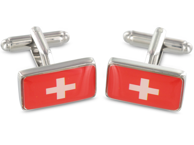 TEROON Manschettenknöpfe Schweiz Fahne