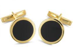 Goldfarbige Manschettenknöpfe mit Onyx-Stein