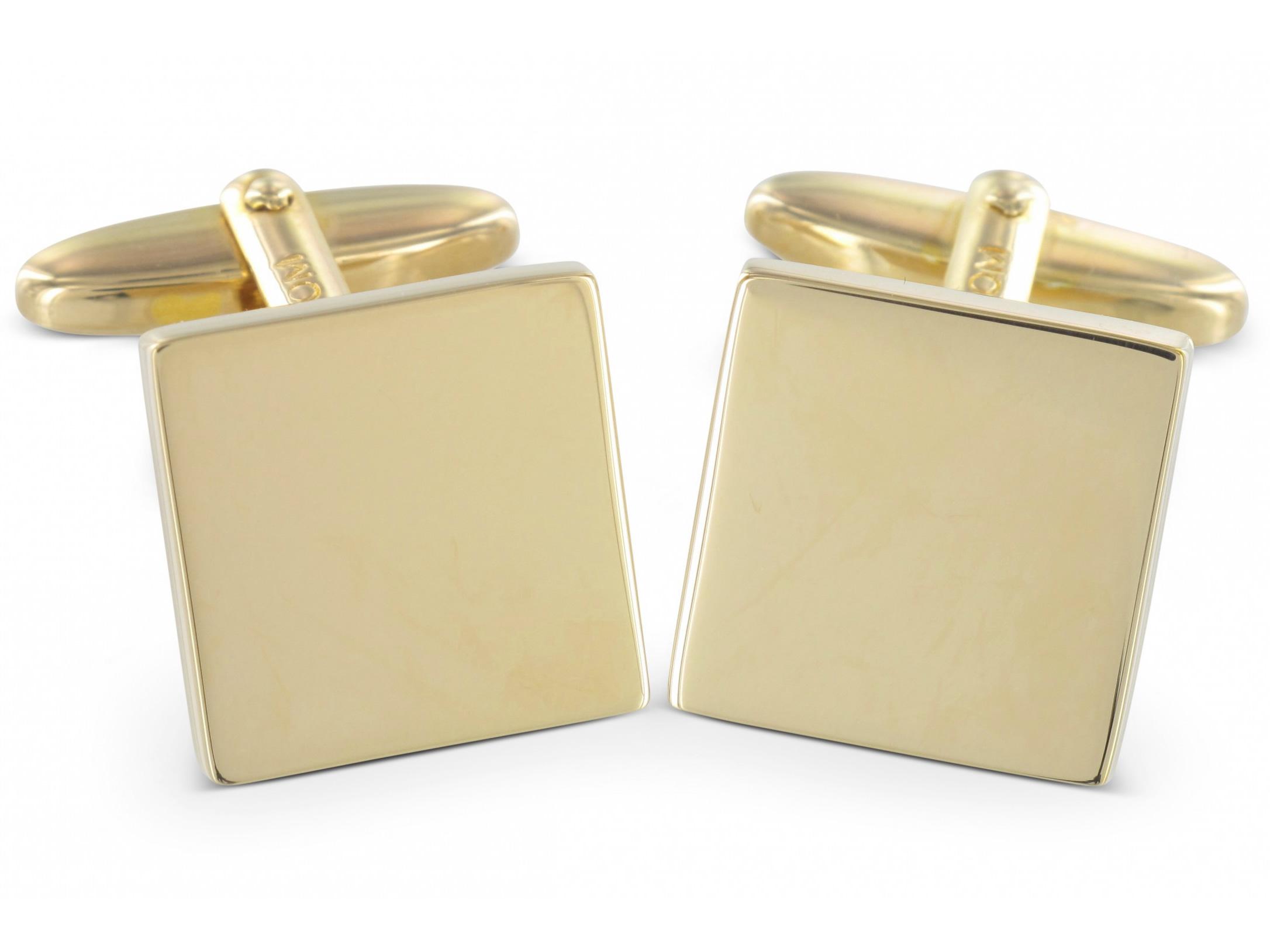 Grom Manschettenknoepfe Gravur Silber quadratisch vergoldet