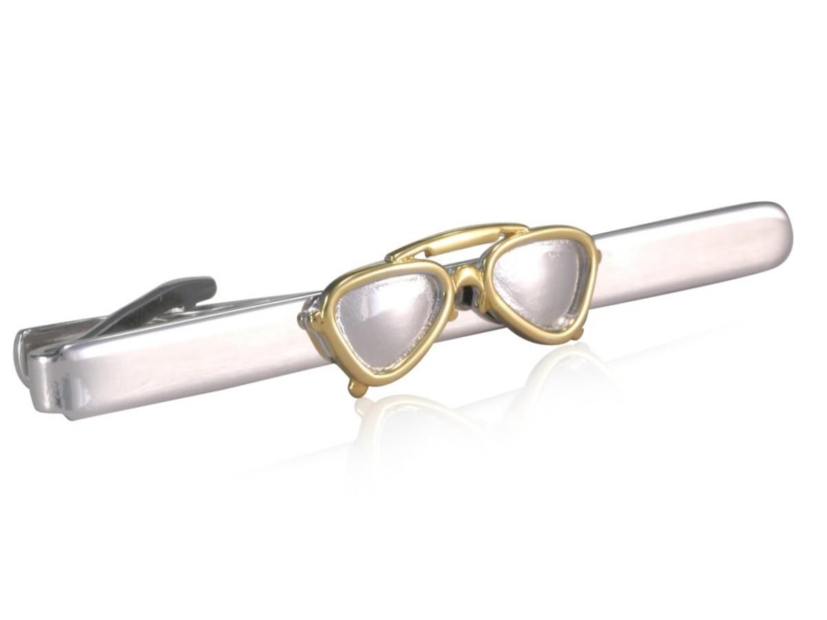 TEROON Krawattenklammer / Krawattennadel Motiv Brille