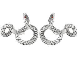 Serpent Manschettenknöpfe Rot Schwarz Silber