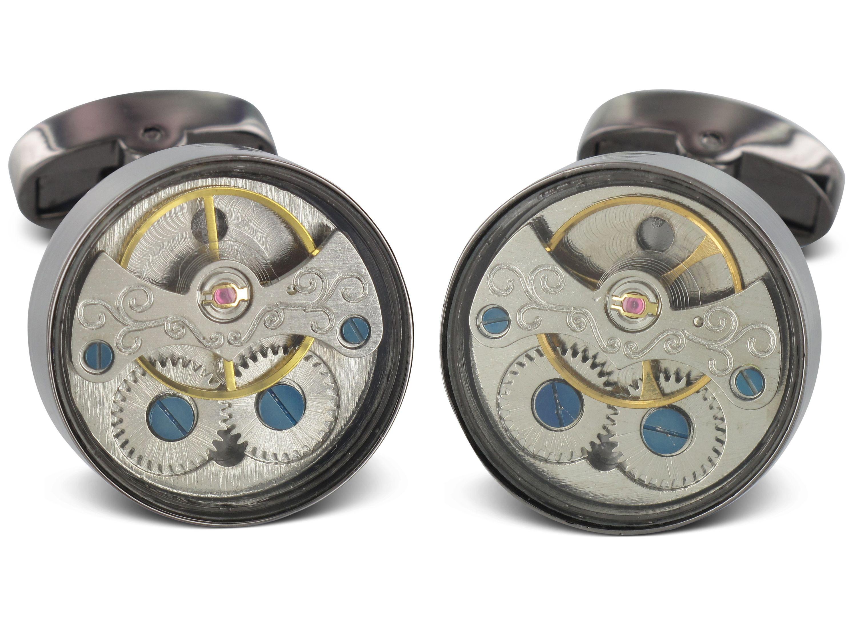 TEROON Prestige Manschettenknöpfe Uhrwerk schwarz offen