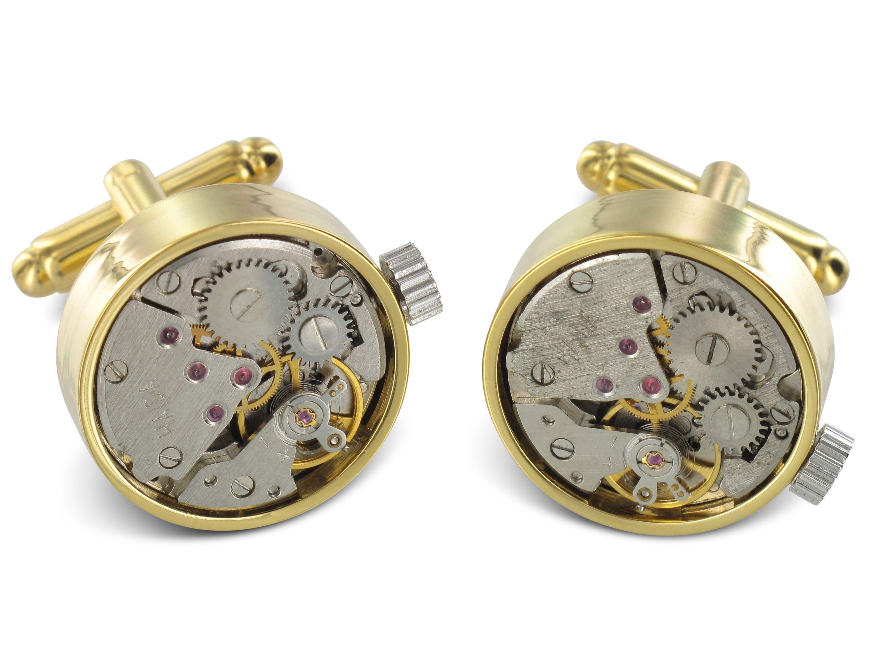TEROON Prestige Manschettenknöpfe Uhrwerk offen
