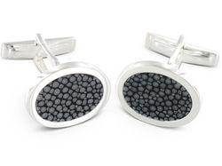 Manschettenknöpfe Silber mit ovaler grau-schwarzer Email-Einlage