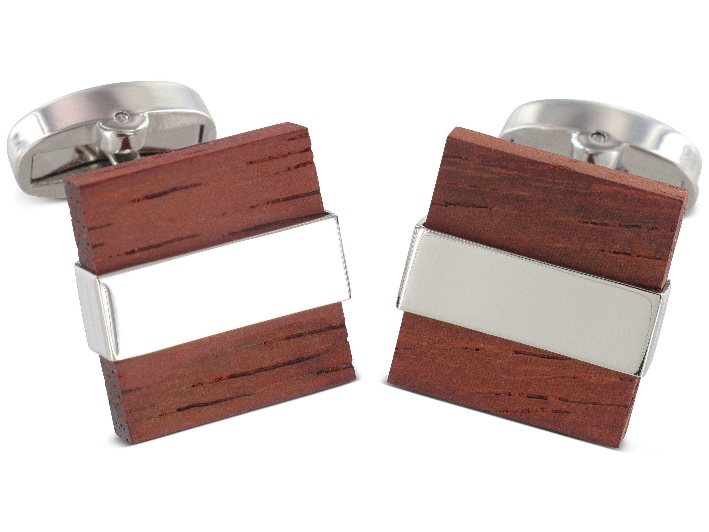 TEROON Manschettenknöpfe Holz-Quadrat Metallband-Fassung