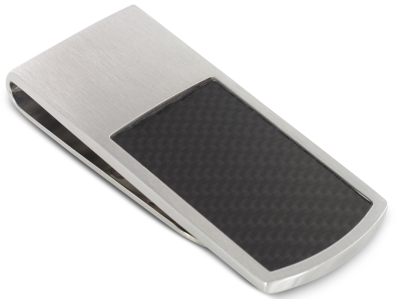 Grom Geldscheinklammer Carbon-Einlage Silber mattiert