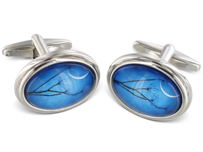 TEROON Manschettenknöpfe Blau oval Mondschein-Motiv