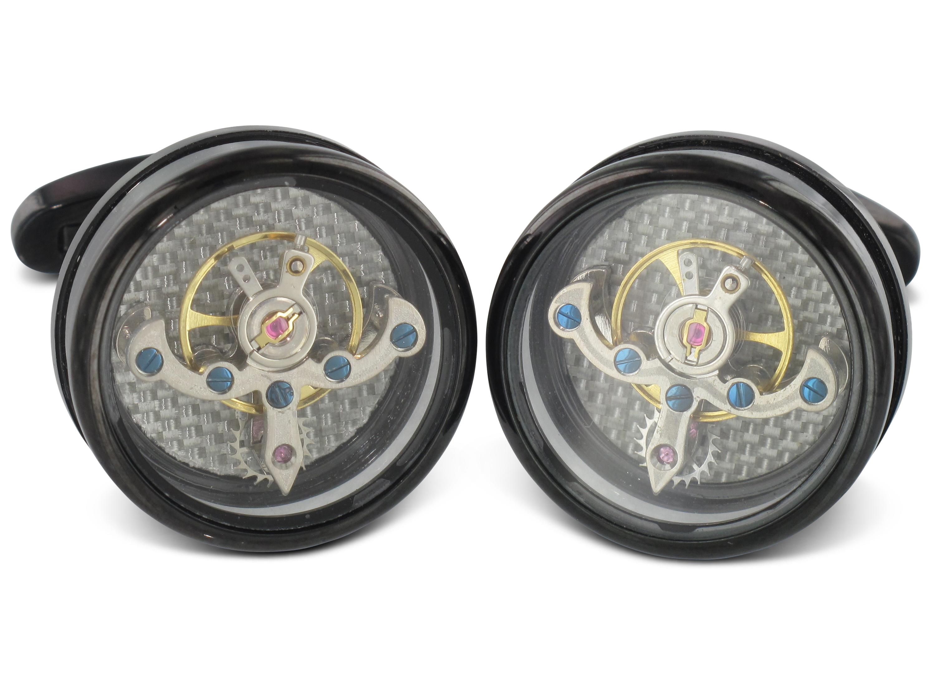 TEROON Prestige Manschettenknöpfe Uhrwerk Tourbillon-Look schwarz rund