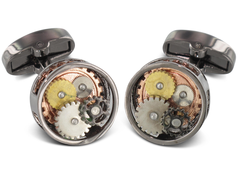 TEROON Manschettenknöpfe Uhrwerk-Look rund mehrfarbig