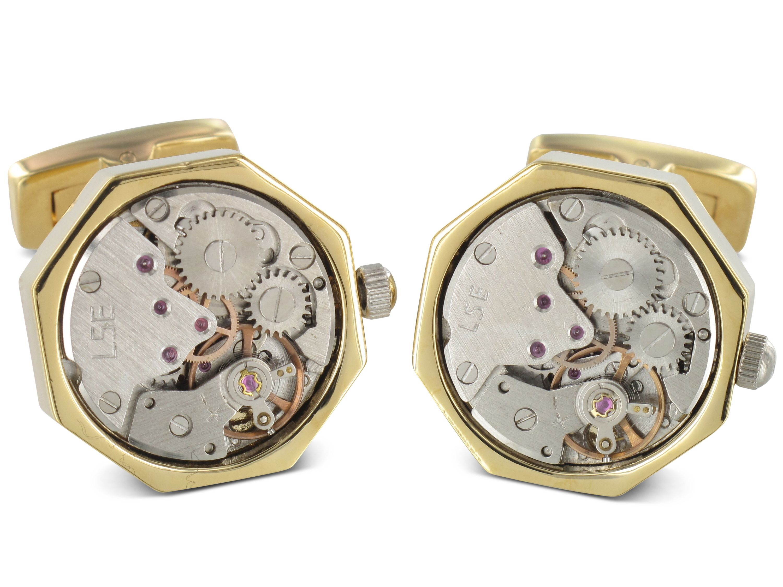TEROON Prestige Manschettenknöpfe Uhrwerk achteckig vergoldet
