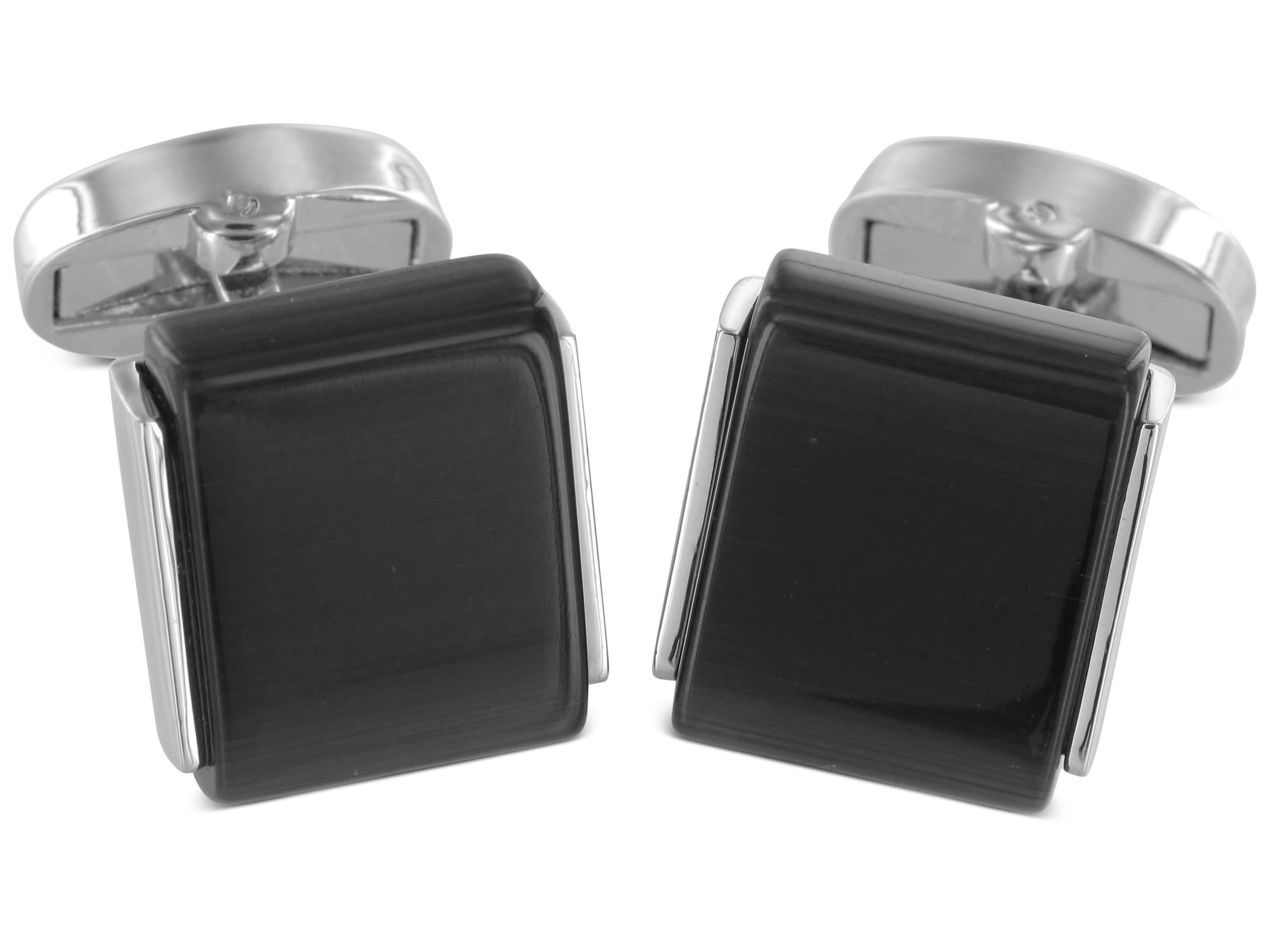 TEROON Manschettenknöpfe schwarze Steineinlage