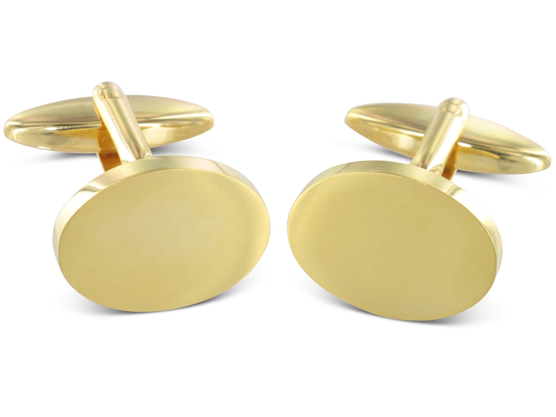 TEROON Manschettenknöpfe vergoldet oval Gravur geeignet
