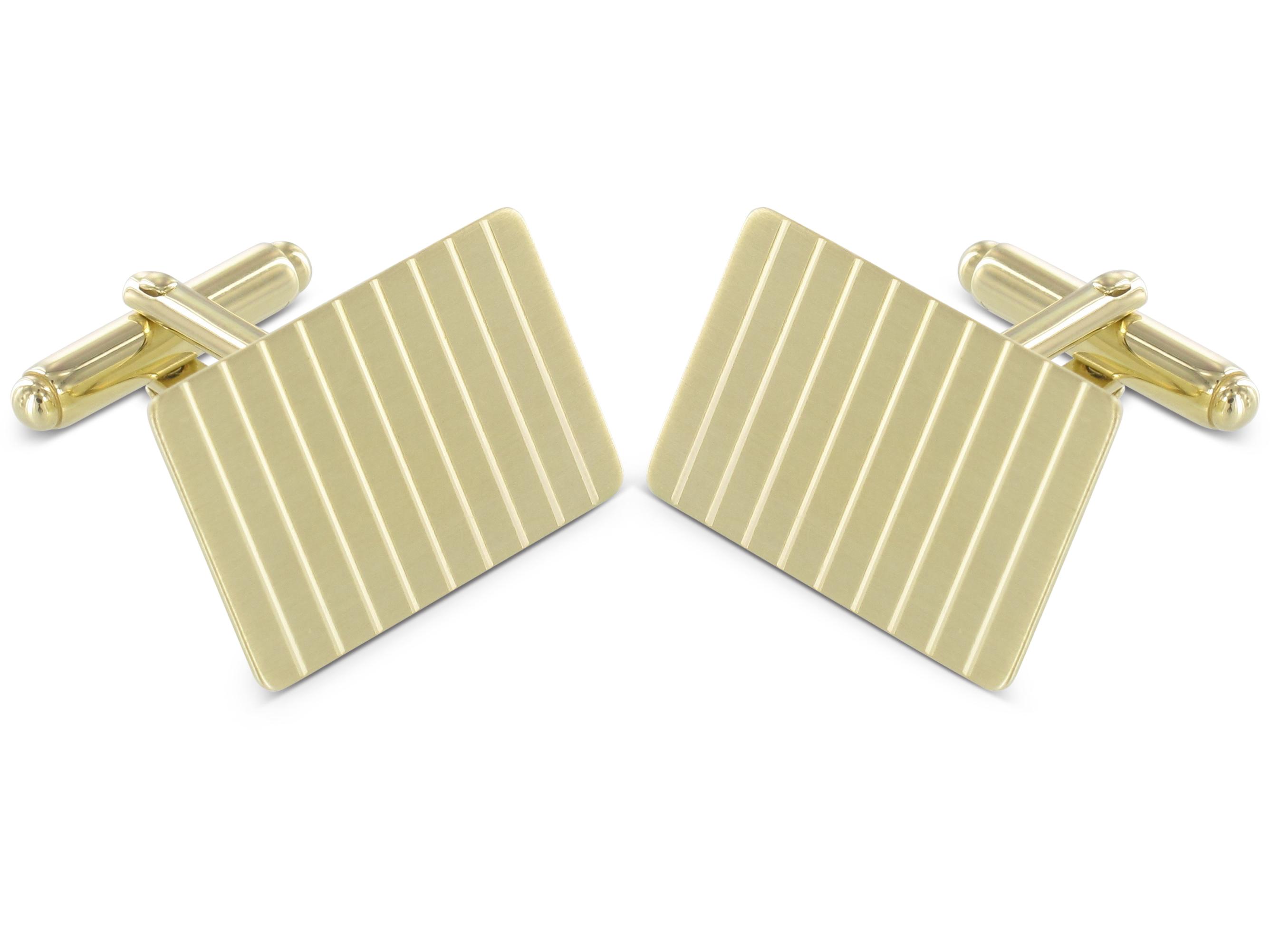 Grom Manschettenknöpfe Gold 585 Streifen