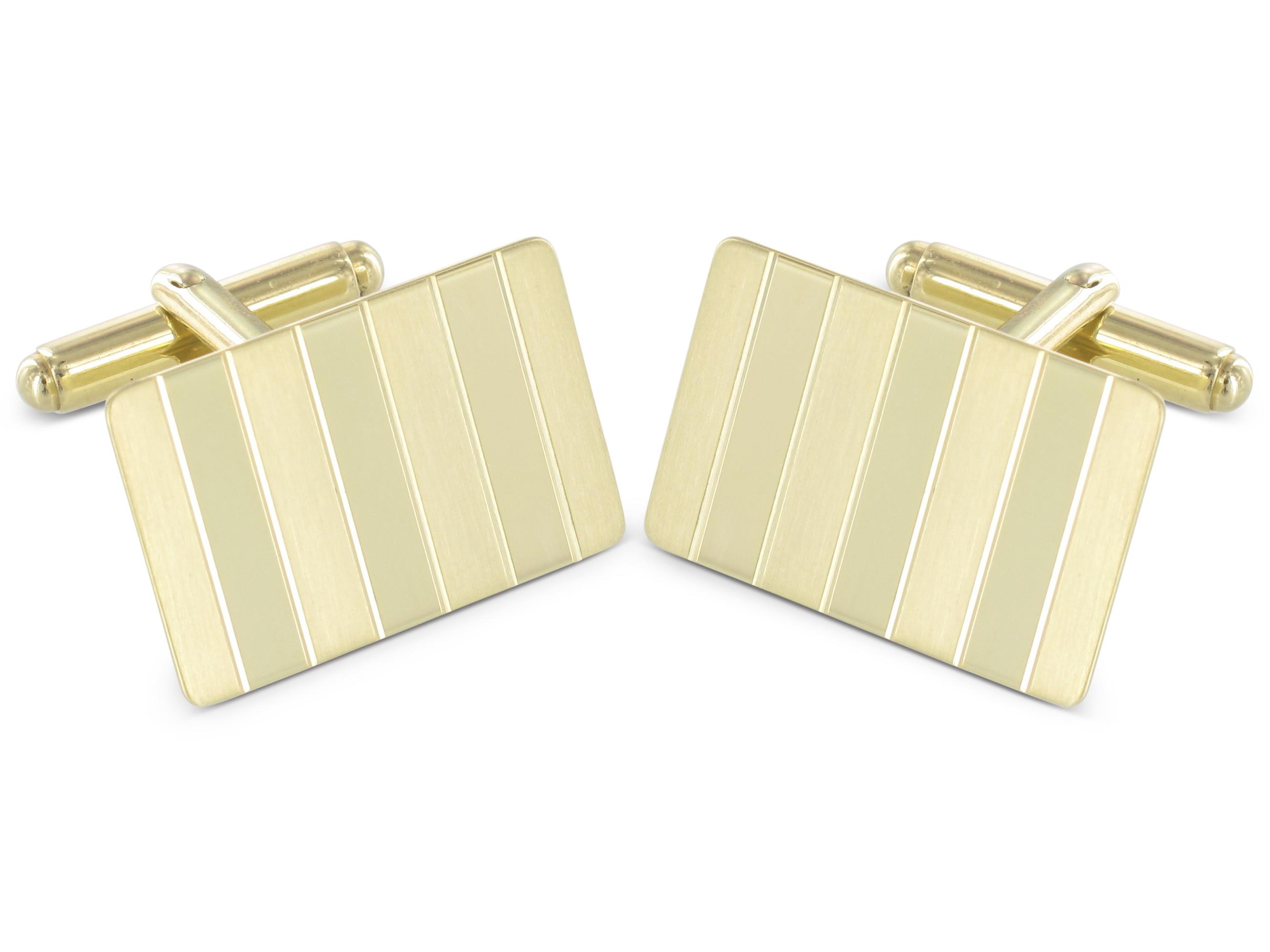 Grom Manschettenknöpfe 585er Gelbgold Streifen Teilmattierung
