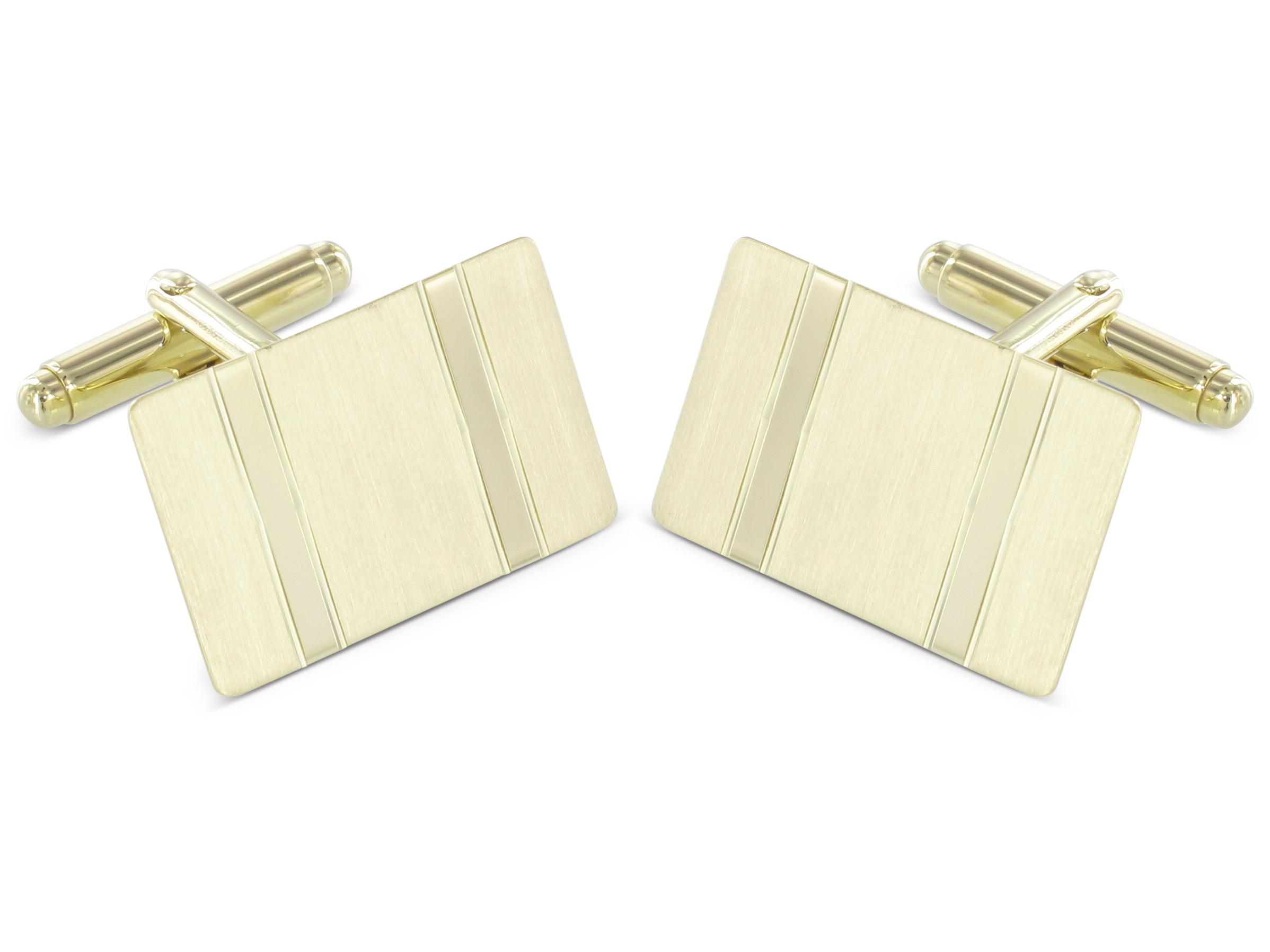 Grom Manschettenknöpfe 585er-Gold Längsstreifen mattiert glänzend