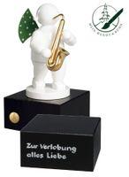 Engel mit Saxophon, auf kleinem Sockel mit 2-zeiliger Widmung von Wendt und Kühn