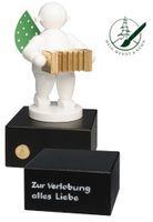 Engel mit Harmonika, auf kleinem Sockel mit 2-zeiliger Widmung von Wendt und Kühn