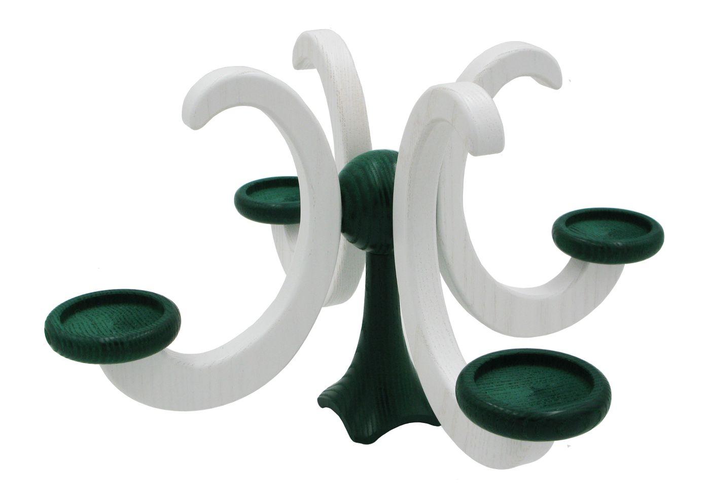 Adventsleuchter, Adventskranz, weiß/grün, für Teelichter