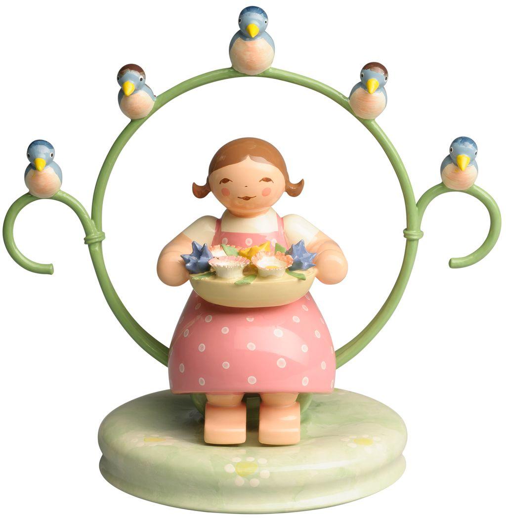 Mädchen im Reifen, mit Blumenschale und Vögeln 555/5 NEU 2019 von Wendt & Kühn
