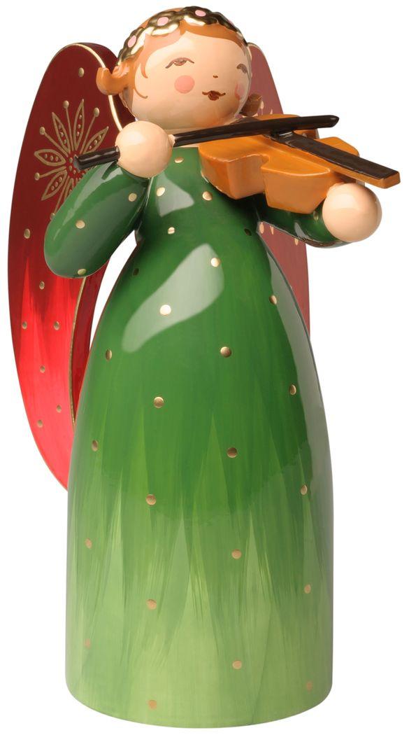 Engel reich bemalt, grün, mit Violine 553/2Rgrün von Wendt & Kühn