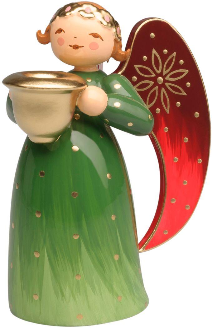 Engel reich bemalt, grün, klein, mit Lichtnapf 553/Rgrün von Wendt & Kühn