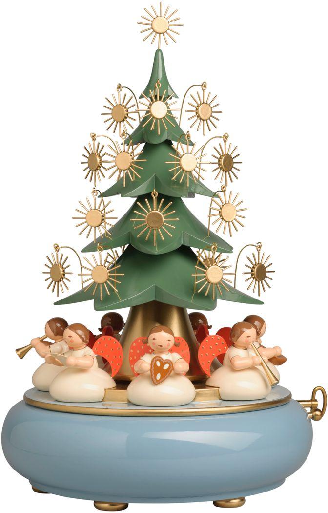 Spieldose mit unter dem Baum sitzenden Engeln 5336/41AB von Wendt und Kühn
