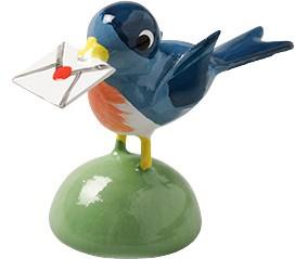 Vogel mit Brief, blau 5263/N von Wendt & Kühn
